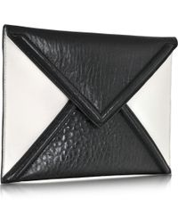 McQ by Alexander McQueen Black and White Mix Lether Envelope Clutch - Lyst
