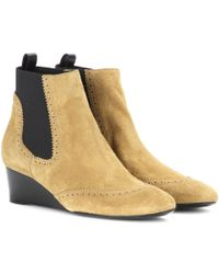 Balenciaga Suede Wedge Brogue Ankle Boots - Lyst