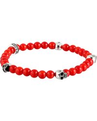 King Baby Studio 6Mm Red Coral Bead Bracelet W/ 4 Skulls - Lyst