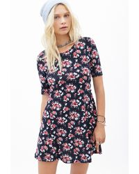 Forever 21 Watercolor Rose Print Dress - Lyst