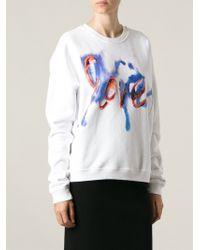 MSGM Love Print Sweatshirt - Lyst