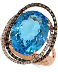 Effy Collection - Bleu Rosé By Effy Blue Topaz (12-1/6 Ct. T.w.) And Brown Diamond (1/3 Ct. T.w.) Orbit Ring In 14k Rose Gold - Lyst