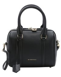 Burberry Black Leather 'Alchester' Small Convertible Bowling Bag black - Lyst