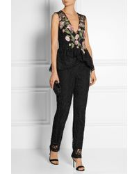 Marchesa - Guipure Lace Tapered Trousers - Lyst