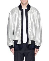 3.1 Phillip Lim 'Tromp L'Oeil' Bomber Metallic Leather Combo Jacket - Lyst