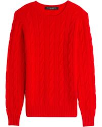 Ralph Lauren Black Label Cashmere Cable Knit Pullover - Lyst