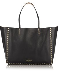 Valentino The Rockstud Medium Reversible Texturedleather Tote - Lyst