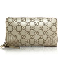 Gucci Bree Metallic Ssima Leather Zip-Around Wallet gold - Lyst