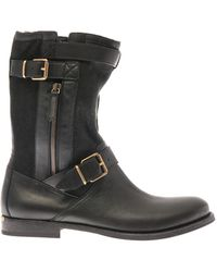 Burberry Brit Beltedbuckle Leather and Suede Boots - Lyst