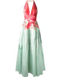 Elie Saab Halterneck Printed Gown green - Lyst