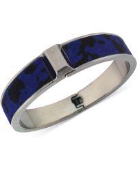 Vince Camuto - Hematitetone Leather Inlay Hinge Bangle Bracelet - Lyst