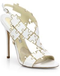 Brian Atwood Sommer Leather Puzzle Sandals - Lyst
