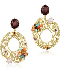 Les Nereides - Neo Bourgeoise Asymmetrical Metal Lace And Embroidery Earrings - Lyst