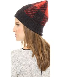 Rag & Bone Cammie Beanie Royal Red - Lyst