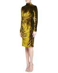 J. Mendel Velvet Turtleneck Dress - Lyst