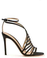 Gianvito Rossi Black Sequined Cutout Details Leather Sandals - Lyst