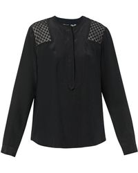 Rebecca Taylor Lace-Panel Silk Blouse - Lyst