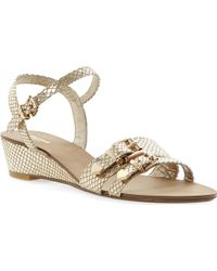 Dune Gail Buckle Wedge Sandals Champagneleather - Lyst