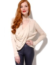 Akira Black Label - Angora Blend Twist Front Sweater in Oatmeal - Lyst