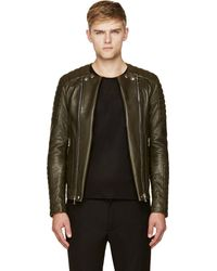 Balmain Olive Green Leather Classic Biker Jacket - Lyst