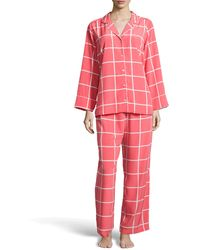 Natori Windowpane Notched Pajama Set - Lyst
