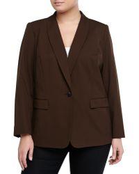 Lafayette 148 New York Gabrille Shawl-Collar Wool-Blend Jacket, Espresso - Lyst