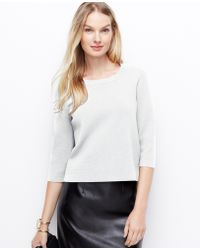 Ann Taylor Structured Zip-back Sweater - Lyst