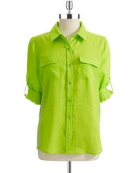 Calvin Klein Linen Button-Down Blouse - Lyst
