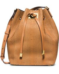 Michael Kors Miranda Large Sueded-snakeskin Messenger - Lyst