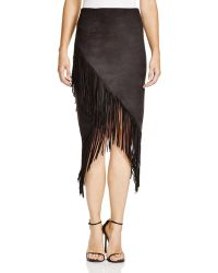 Olivaceous - Faux Suede Fringed Skirt - Lyst