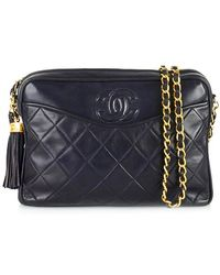 Chanel Pre-Owned Navy Camera Bag With Tassel blue - Lyst