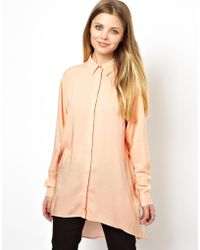 Asos Tunic Blouse with Cut Out Back - Lyst