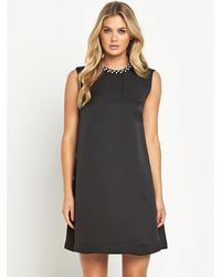 French connection Encrusted Pearl Detail Shift Dress - Lyst
