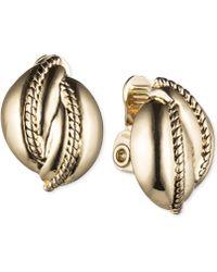 Jones New York - Silver-tone Rope Twist Clip-on Stud Earrings - Lyst