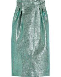 Vika Gazinskaya - Metallic Jacquard Wrap Midi Skirt - Lyst