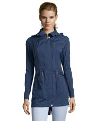 Cole Haan Ink Blue Water Resistant Packable Hooded Rain Jacket - Lyst