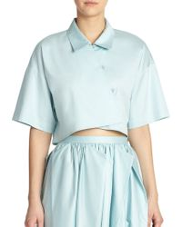 Tibi Satin Poplin Cropped Top blue - Lyst