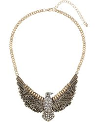 Topshop Rhinestone Chunky Eagle Necklace - Lyst