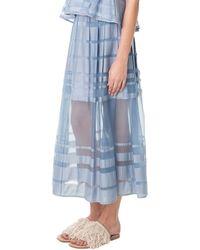 Tibi Striped Organza Midi Skirt - Lyst