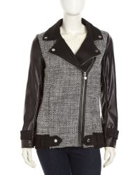 Betsey Johnson Tweed Fauxleather Zip Moto Jacket - Lyst