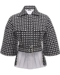 Alexander McQueen Bicolour Bonded Grid Pleated Jacket - Lyst