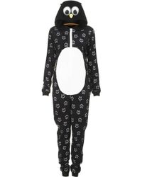 Topshop Owl Fleece Onesie Black - Lyst
