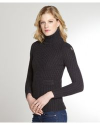 Moncler Grey Virgin Wool Turtleneck Long Sleeve Sweater - Lyst