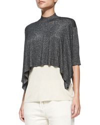 3.1 Phillip Lim Elbowsleeve Layered Shimmery Shirt - Lyst