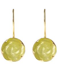 Toosis Rose Carved Yellow Jade Earrings - Lyst