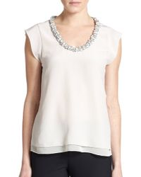 Rebecca Taylor Embellished Silk Blouse - Lyst