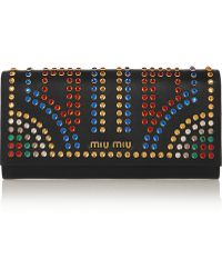 Miu Miu Crystalembellished Leather Continental Wallet - Lyst