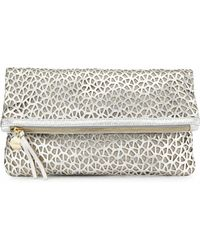 Clare V. Lasercut Leather Foldover Clutch - Lyst