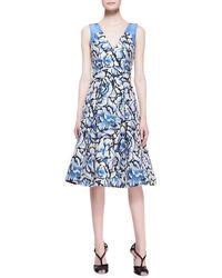 Carolina Herrera Sleeveless Feathered-floral Dress - Lyst