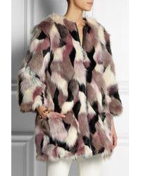 Nina Ricci Reversible Patchwork Faux Fur Coat - Lyst